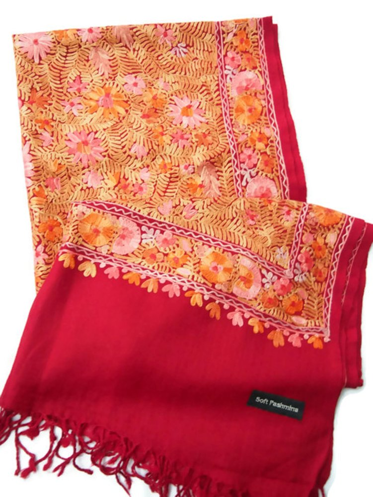 India Handmade Embroidery - Premium Soft Pashmina - Dark Red W Full Multicolor Flowers - 80'' X 26'' Wraps / Scarf / Shawl / Tablecloth / Home Decoration