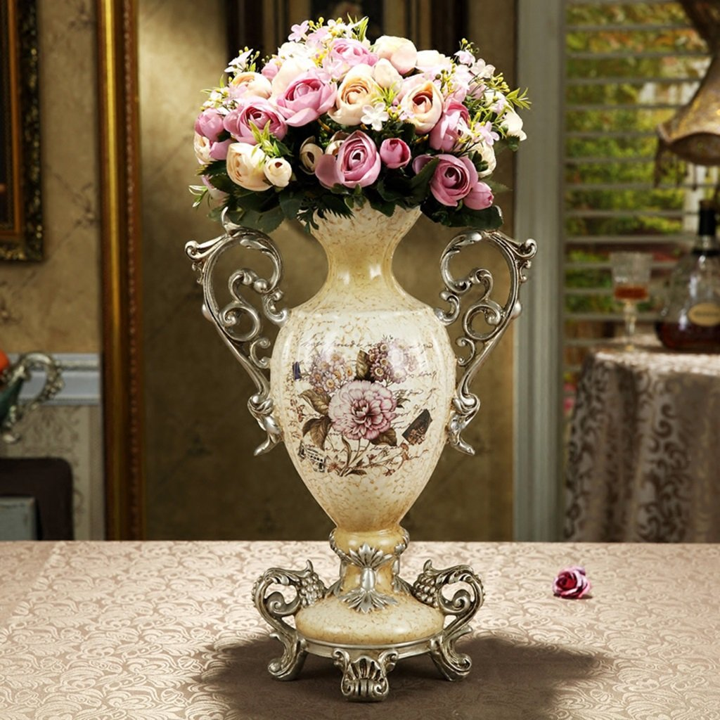 European-style Retro Resin Flowers Vase Living Room Dining Table Study Home Decoration Luxurious Creative Hand-painted Vase, Beige by The tail of July (Image #2)