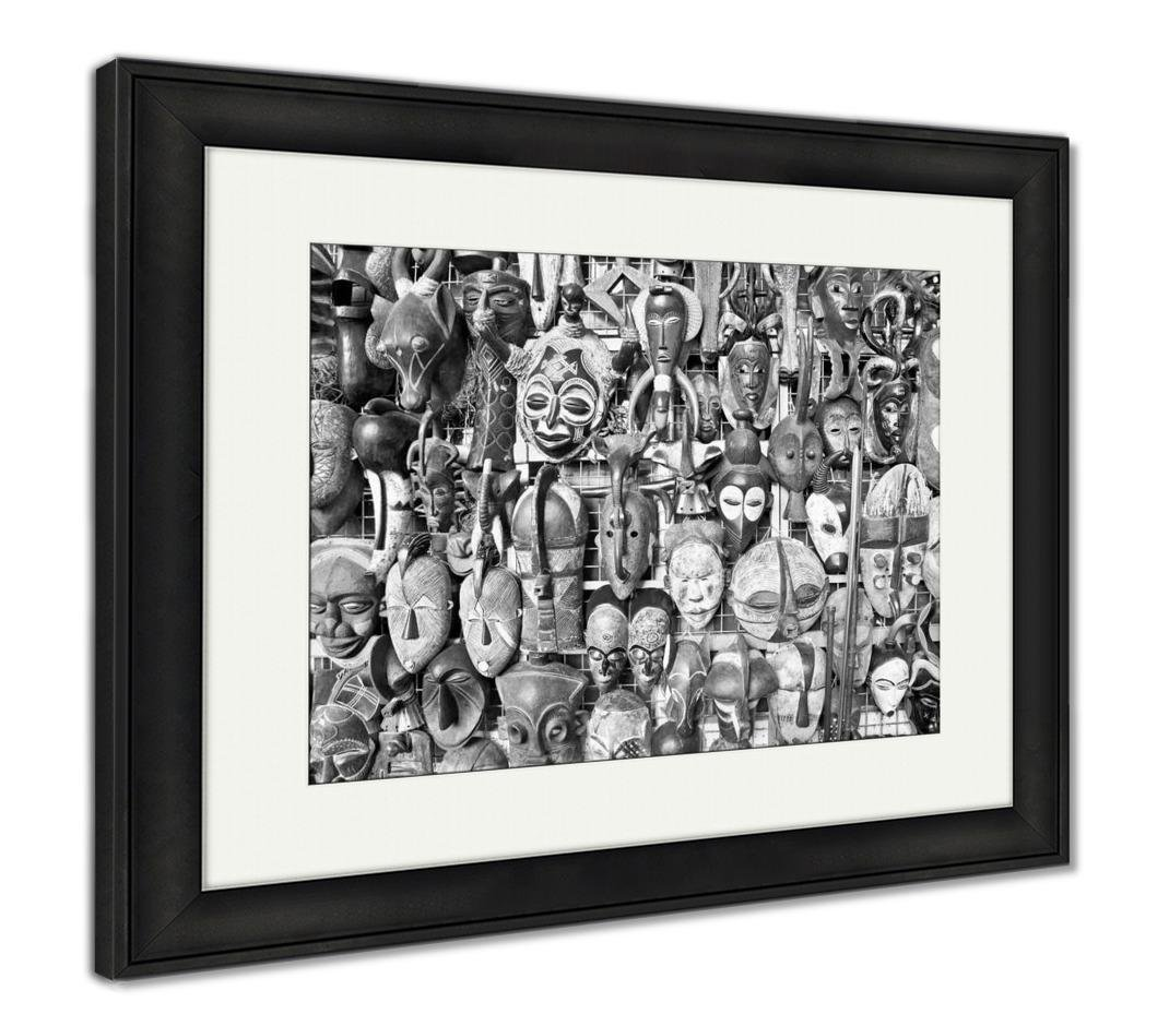 Ashley framed prints old african masks for sale at market in nairobi keny afric wall art home decoration black white 34x40 frame size black frame