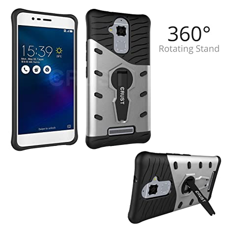 newest 3416c 13ba3 Crust 360° Rotating Stand Back Case Cover for Asus Zenfone 3 Max (5.2 Inch)  ZC520TL, Shock Proof Slim Armor - Silver