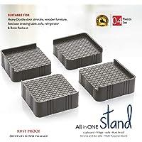 Glister 4-Pieces Almirah, Wardrobe, Refrigerator Stand (Grey Black) Washing Machine Stand,Furniture Base Stand