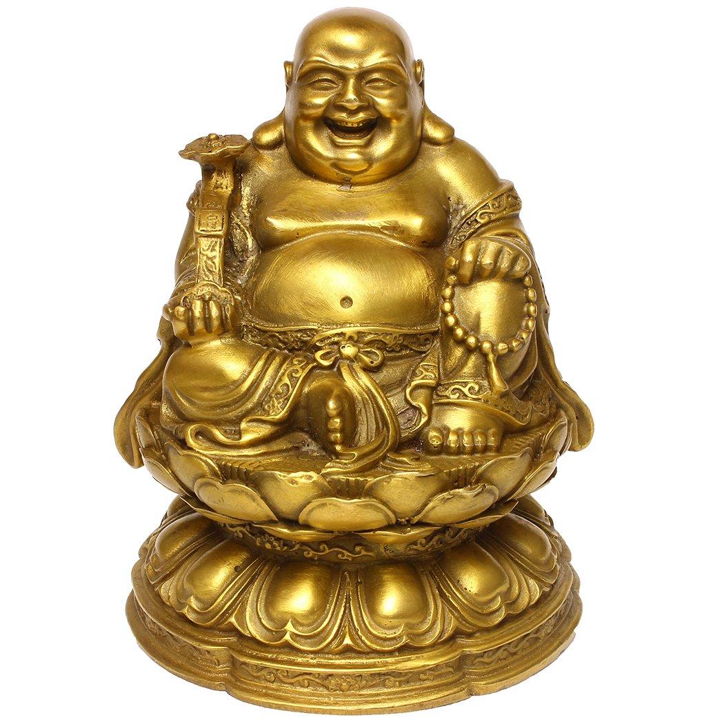 Feng Shui Brass Maitreya Laughing Buddha Sitting on Lotus Flower Statue Home Decorative Gift
