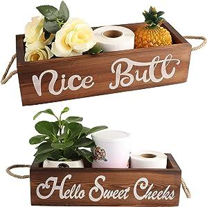 Hello Sweet Cheeks Cute Bathroom Decor Box, Funny Toilet Paper Holder Box, Farmhouse Rustic Wooden Bathroom Storage Box, Storage Bins for Toilet Paper Bathroom Signs Decor, Funny Home Decor