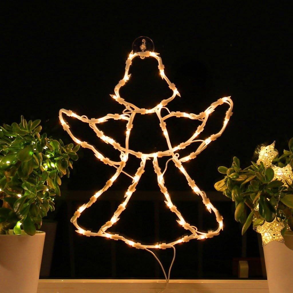 Fenster-Silhouette Weihnachten 50cm Weihnachtsdeko Fensterbilder Beleuchtet Weihnachtsbeleuchtung innen Fensterdeko zum aufhängen Kamelio