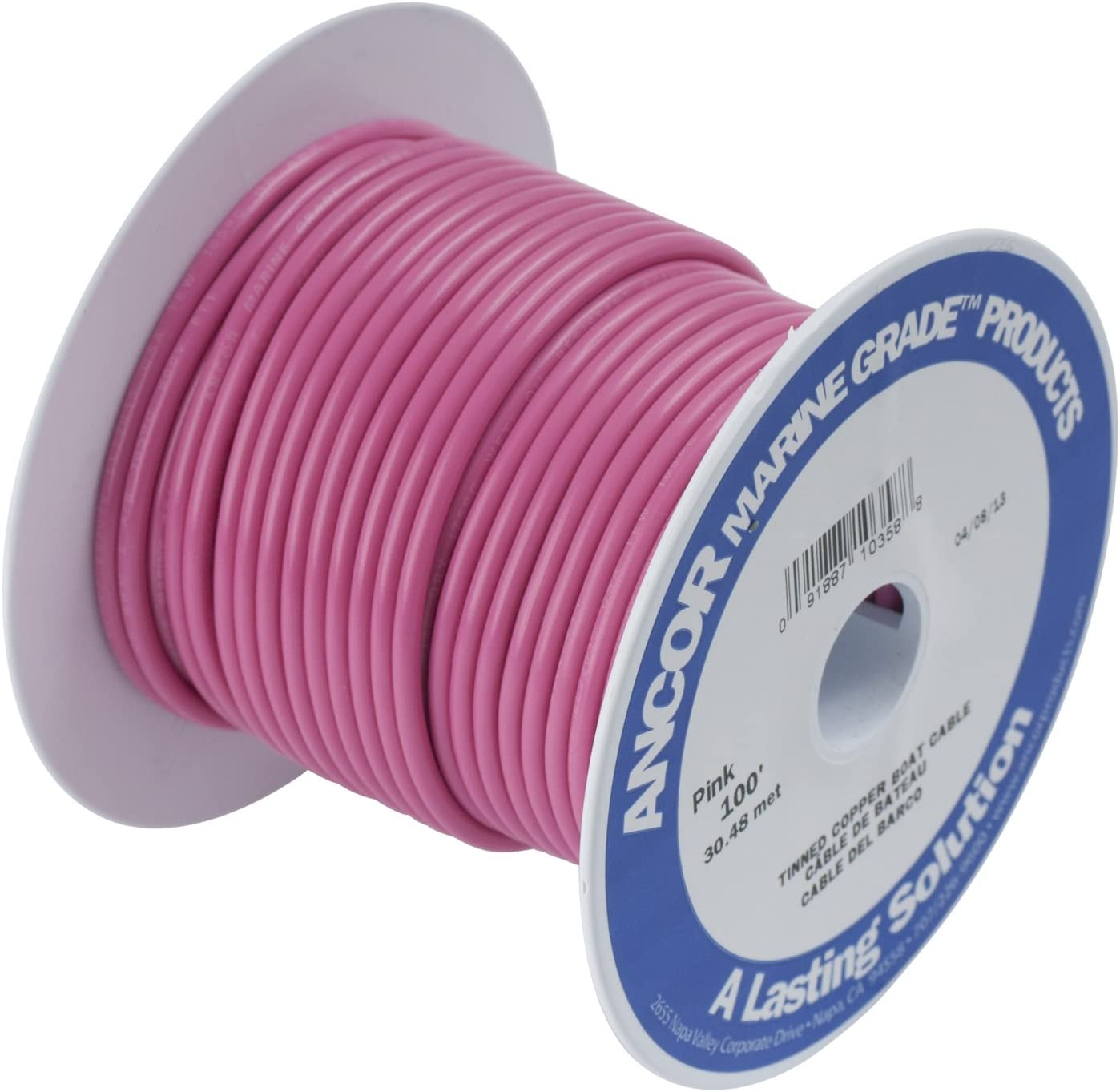 Ancor 104610 Marine Grade Electrical Primary Tinned Copper Boat Wiring 14-Gauge, Pink, 100-Feet