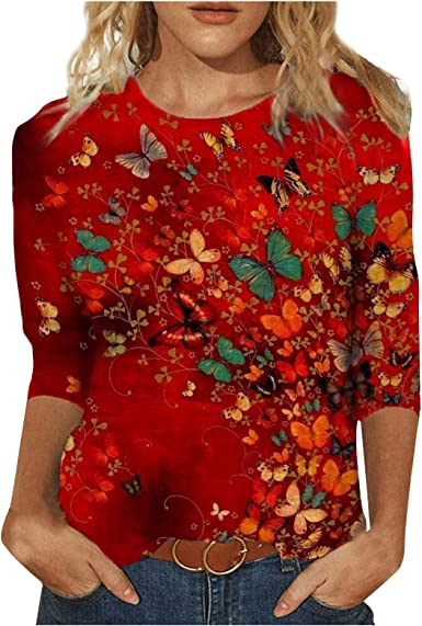 fartey 3/4 Sleeve Shirts for Women Round Neck Loose Pullover Comfy Soft Blouses Summer Casual Print Tops
