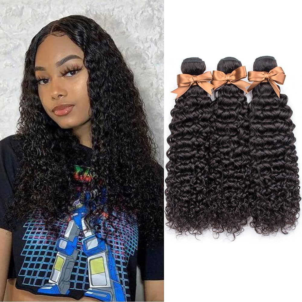 ALLRUN Brazilian Virgin Hair Kinky Atlanta Mall Curly 100% supreme Unpr 3 Bundles 10A