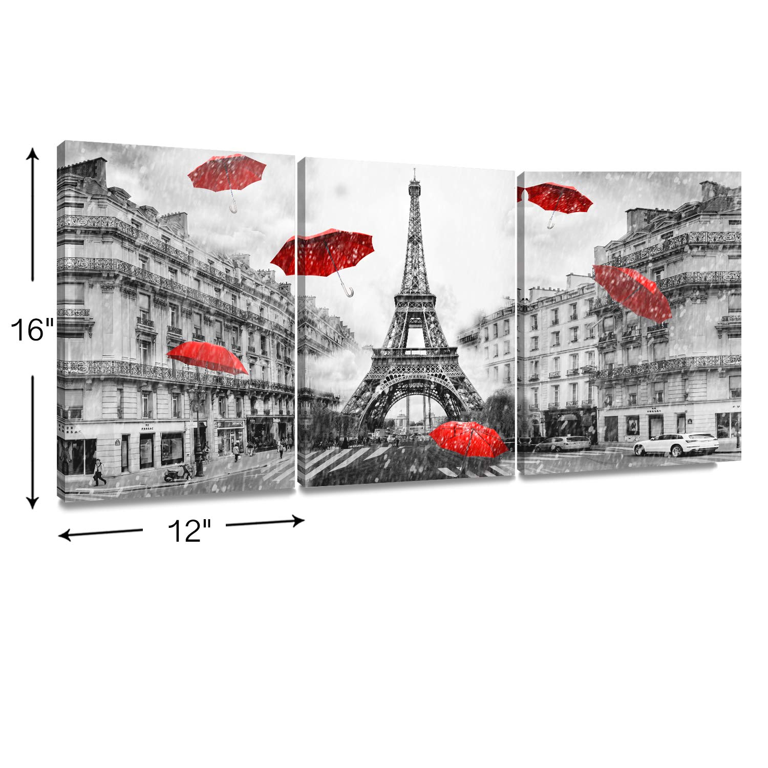 Decor mi modern wall art paris france eiffel tower home decor umbrellas romantic couple poster prints pictures of paris on canvas framed for living room
