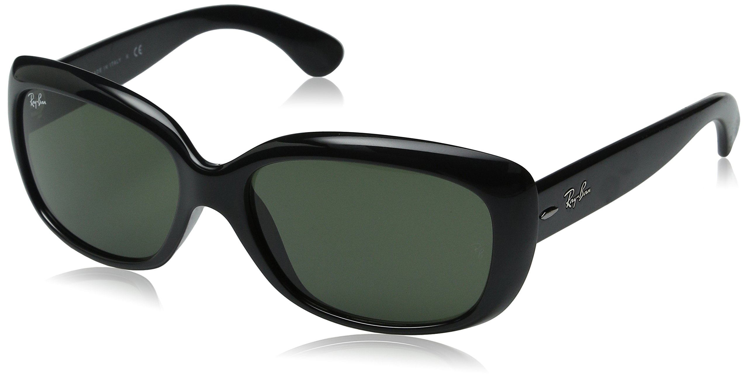 Ray-Ban Womens Jackie Ohh Sunglasses (RB4101) Black/Green Polarized - 58mm by Ray-Ban