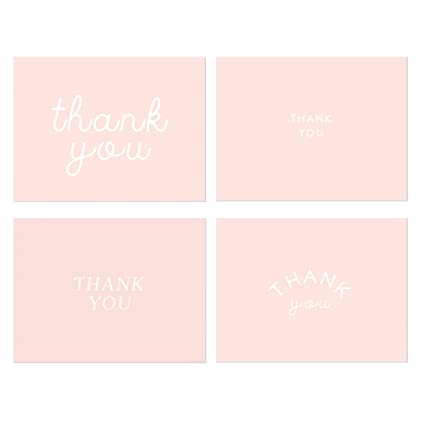 amazon com pink thank you note cards stylish thank you cards