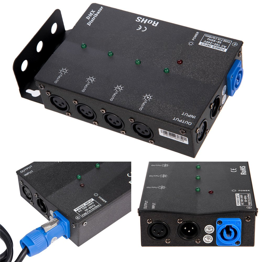 MFL. 4 Way Isolated DMX Splitter Amplifier Distributor with 3-Pin Outputs by MFL.