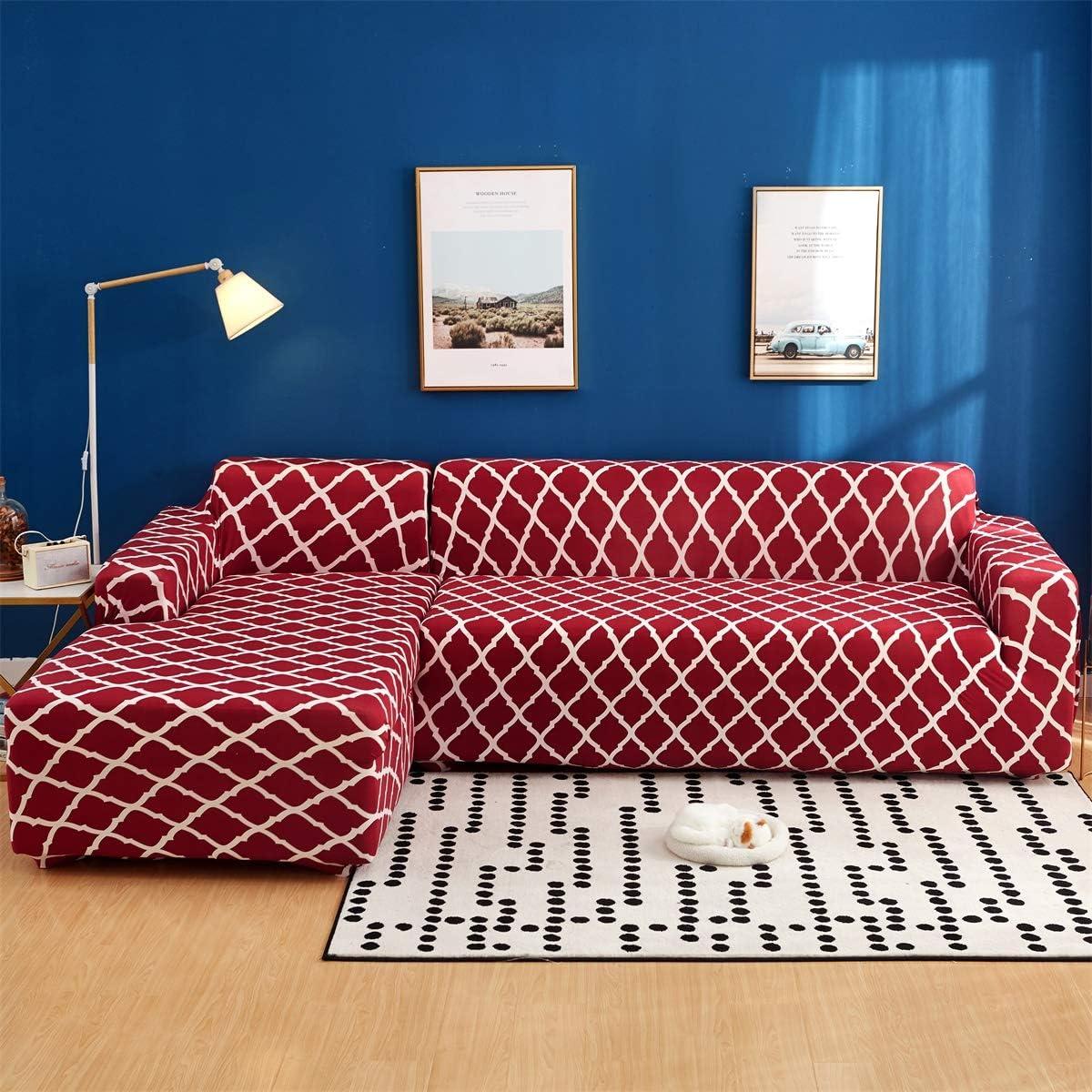 Jian Ya Na L Shape Sofa Covers Sectional Sofa CoverStretch Polyester Spandex Fabric Slipcover 2pcs Stretch Slipcovers 2pcs Pillow Covers L Shape Couch Coffee