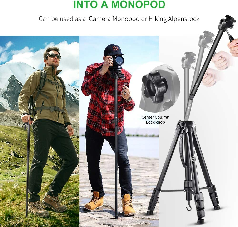 Ball Head and Carrying Bag for Canon Nikon Sony Olympus DV Video DSLR Camera Zecti Compact Light Aluminium Tripod with Quick Release Plate Camera Tripod 70-Inch