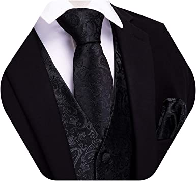 HISDERN 3pc Mens Solid Color Woven Dress Waistcoat /& Necktie and Pocket Square Vest Suit Tuxedo Set