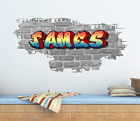 Personalised Graffiti Brick & Name Wall art Sticker 95cm (w) x 46cm ...