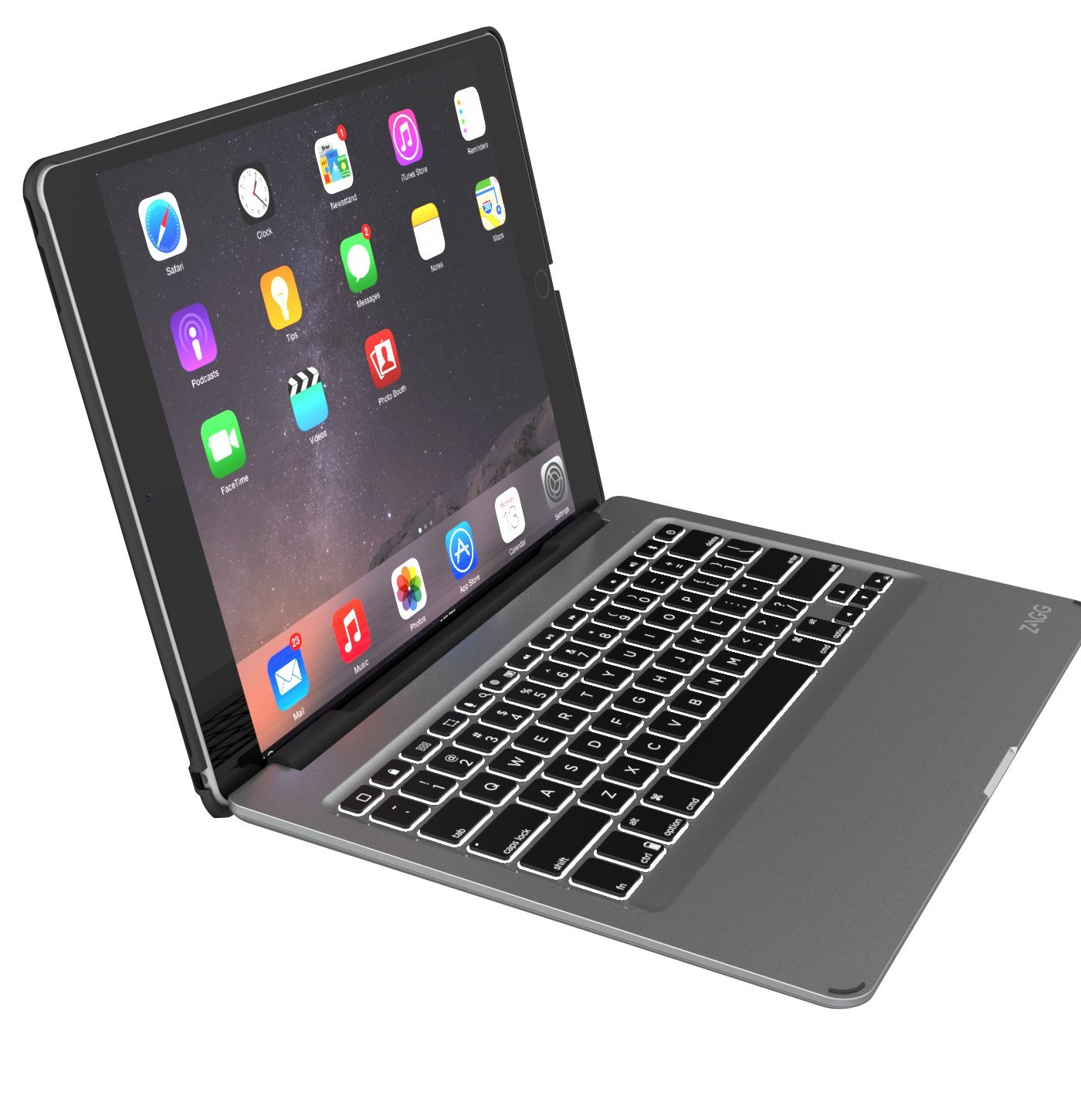 zagg slim book ultrathin case hinged with detachable