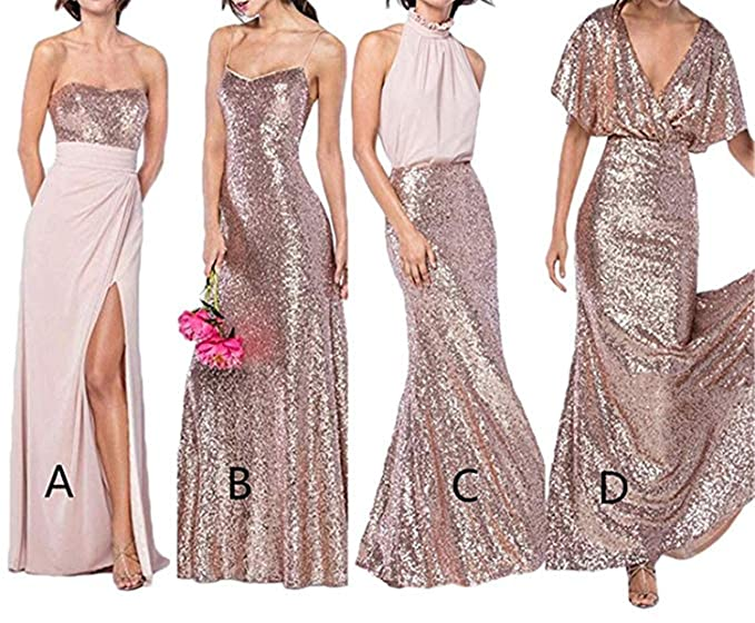 Jdress Sparkly Gold Sequin Long Bridesmaid Dresses 2019 Prom Dress with  High Slit