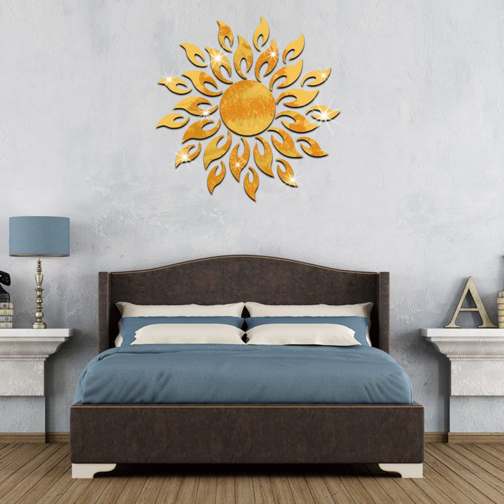 Funlife 50cm 20 inch 3D Crystal Mirror Sun Flame Fire Flower Wall Stickers Living Room decals MS361010g