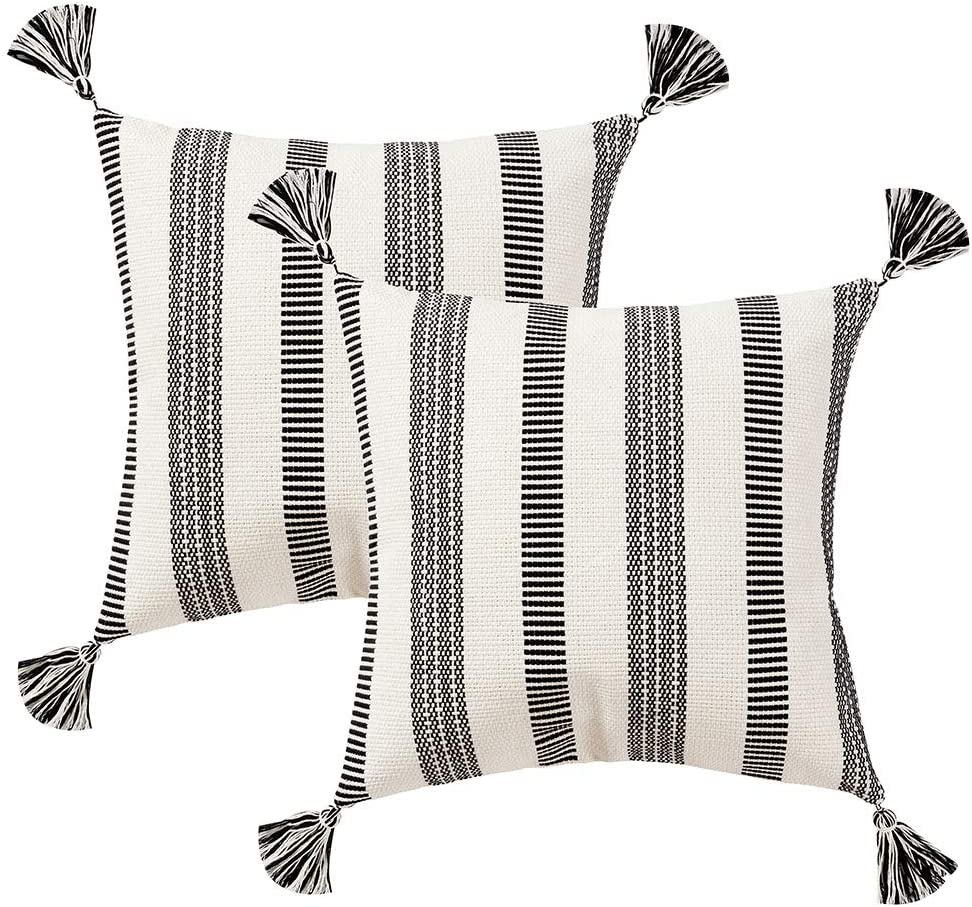 blue page Pack of 2 Cotton Woven Decorative Square Throw Pillow Covers Set, Modern Striped Cushion Cover with Tassels, Home Decor Pillow Case 18x18 Inches (Black Off White)