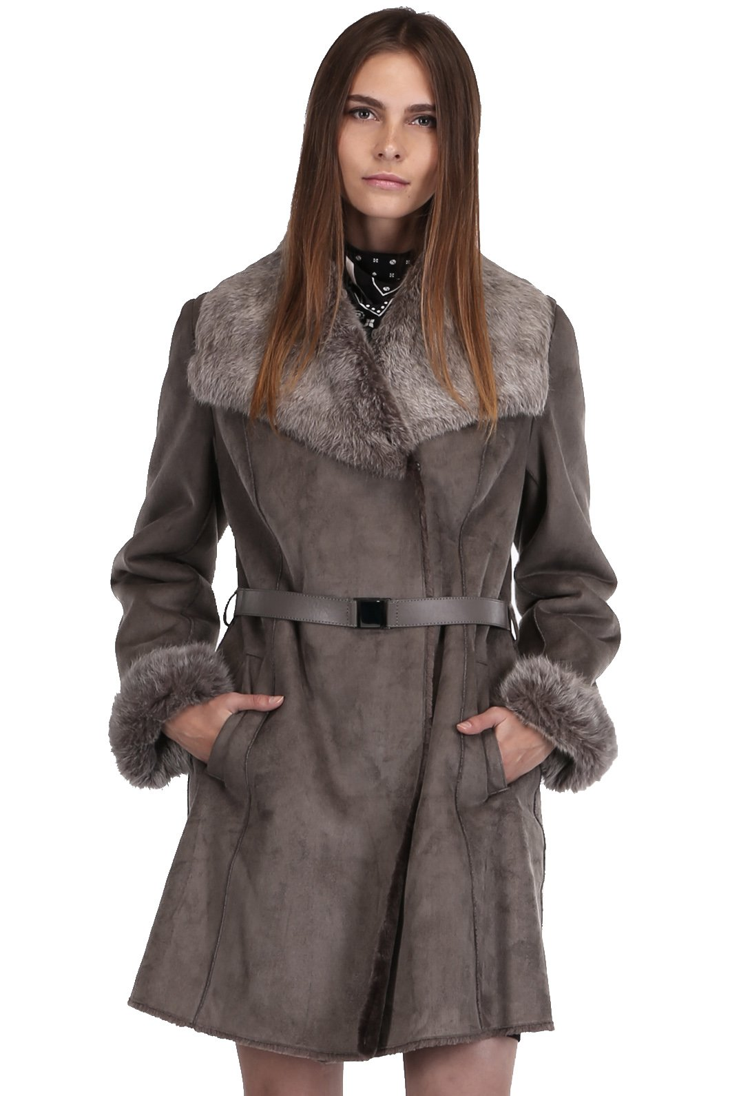 Ovonzo Women's Faux Shearling Coat with Real Rabbit Fur Collar and Cuffs Grey Size M