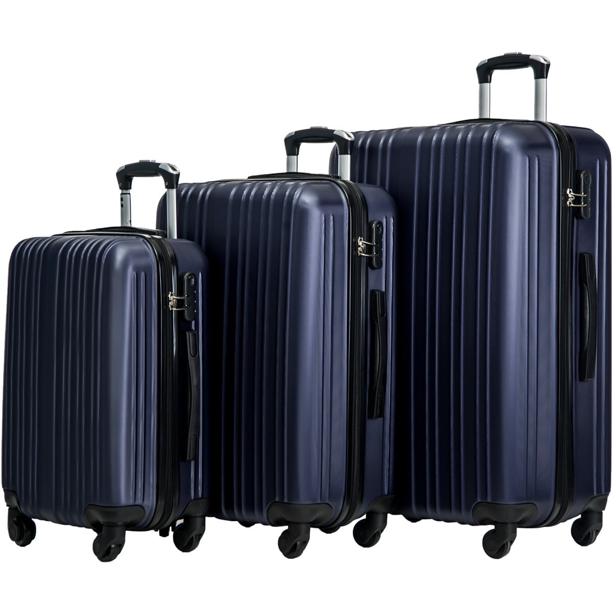 Merax Buris 3 Piece Luggage Set Lightweight Spinner Suitcase 20 24 28 (Deep Blue) by Merax