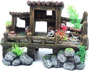 Sscon Aquarium Decor Ornament Fish Tank Resin Decorations Landscape Scenery Bookshelf Desk Accessories, Wood & Stone House