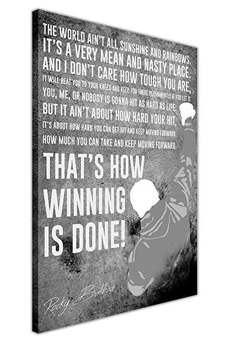 Canvas it up black and white famous rocky balboa movie quote framed canvas wall art prints