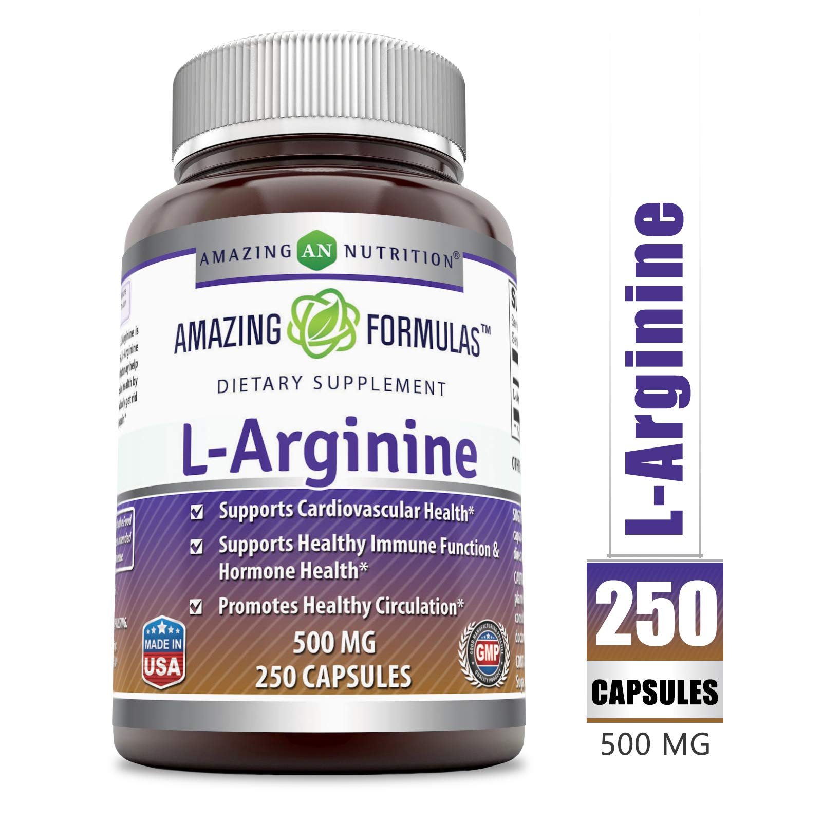 Amazing Formulas L-Arginine 500 mg Supplement - Best Amino Acid Arginine HCL Supplements for Women & Man - Promotes Circulation and Supports Cardiovascular Health - 250 Capsules by Amazing Nutrition