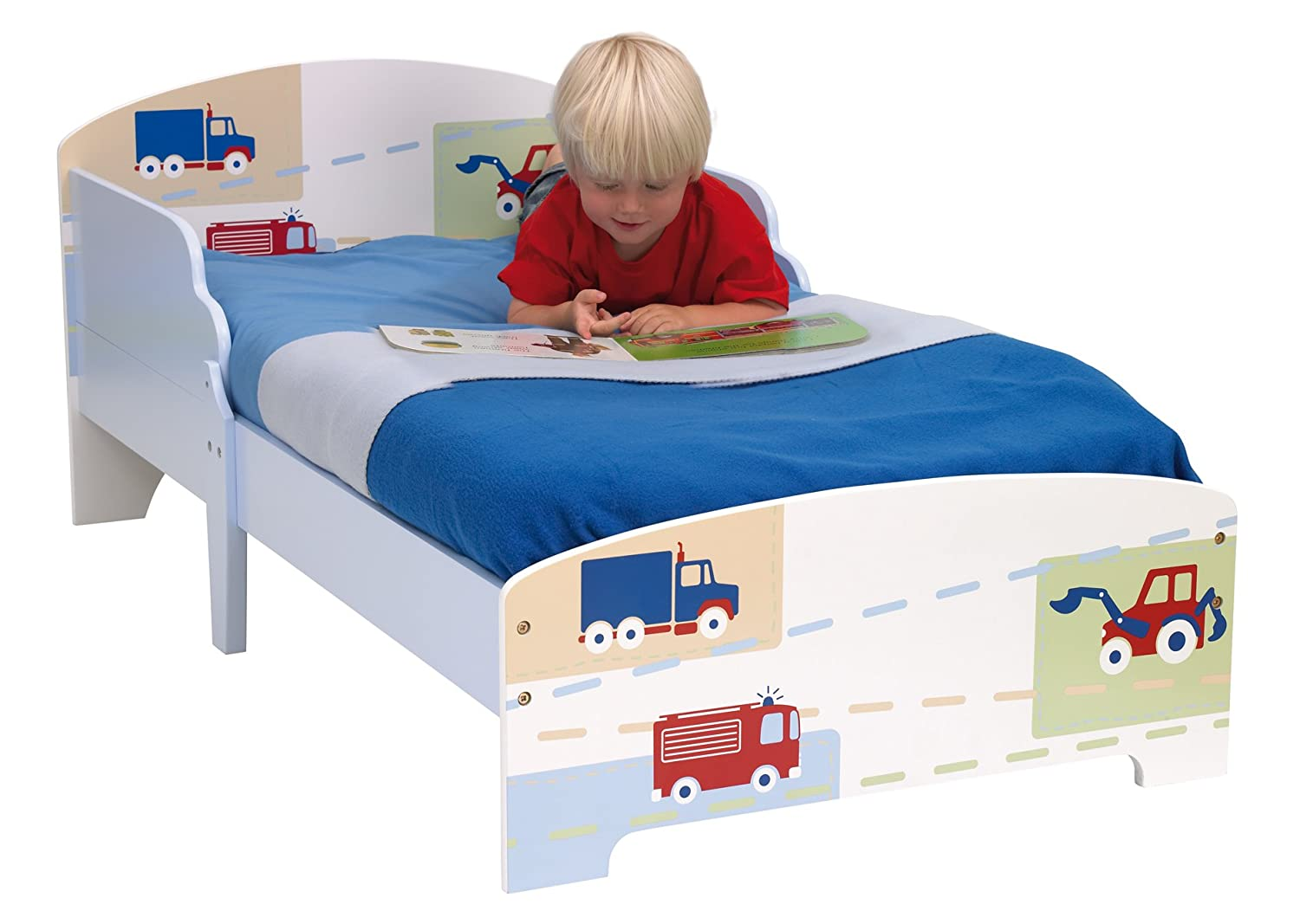 Kids Toddler Childs Junior Digger Bed Wooden Blue Boys