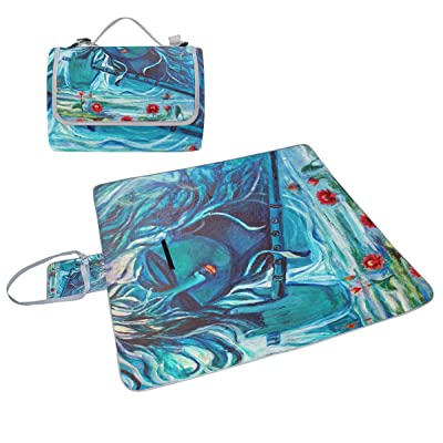 Coosun Femme Art Peinture Couverture de pique-nique Sac pratique Tapis résistant aux moisissures et étanche Tapis de camping pour les pique-niques, les plages, randonnée, Voyage, Rving et sorties