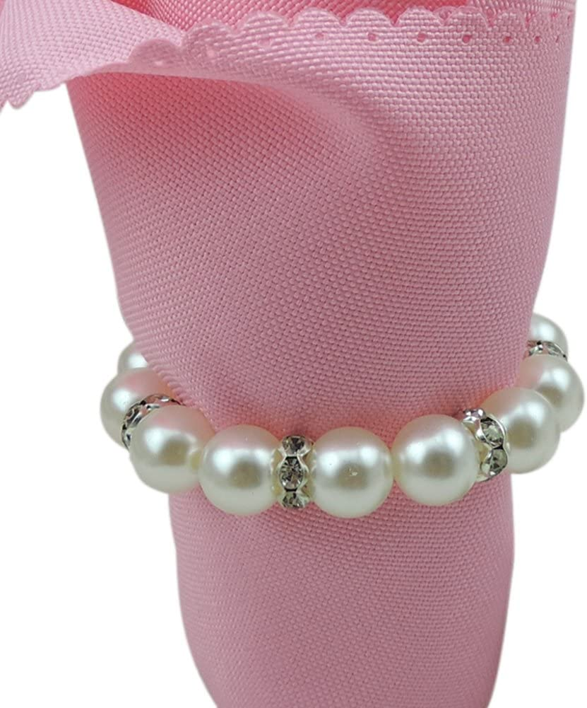 Napkin Ring Artificial Pearl Napkin Buckle Metal Napkin Holder for Wedding Hotel Dinning Table Decoration