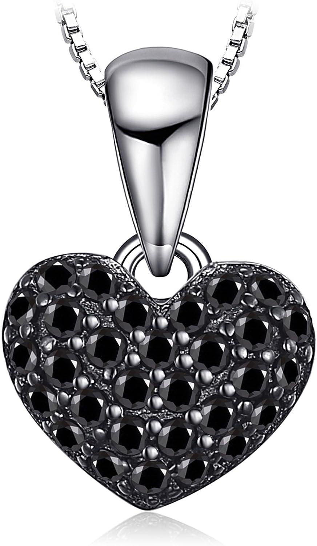 JewelryPalace Colgante Amor corazón 0.14ct genuino Espinela en Plata de ley 925 cadena de caja 45cm