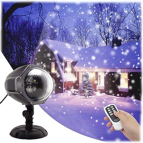 Proiettore Luci Bianche Natalizie.Gesimei Proiettore Luci Natale Esterno Effetto Fiocco Di Neve Proiezione Lampada Led Impermeabile Illuminazione Giardino Telecomando Rotante Faretti