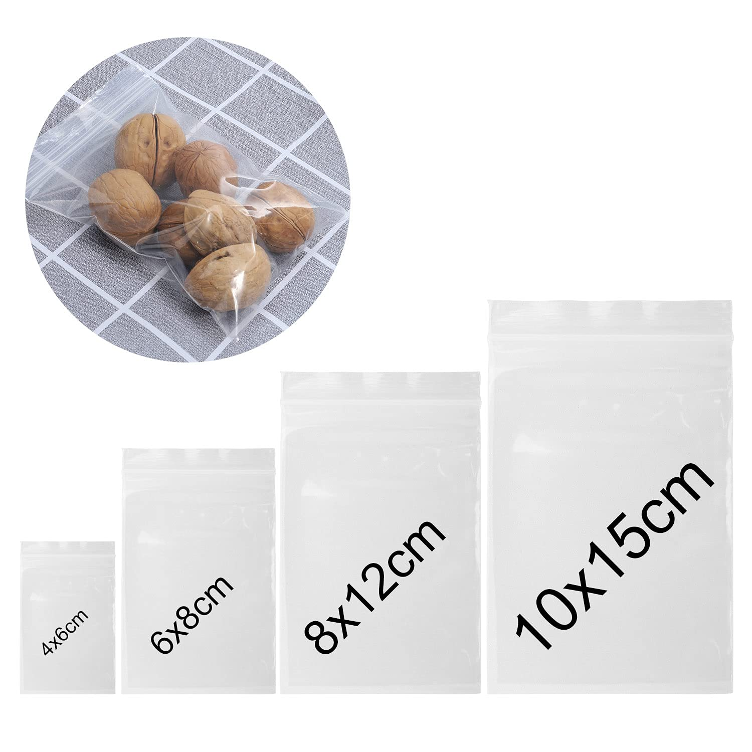 ANWING 200 Pack 2 Mil Thick Poly Ziplock Bags Clear Reclosable Plastic Poly Bags, Food Grade Safe Self Sealing OPP Poly Bags Zipper Baggies for Jewelry, Candies, Coin, Pill Etc