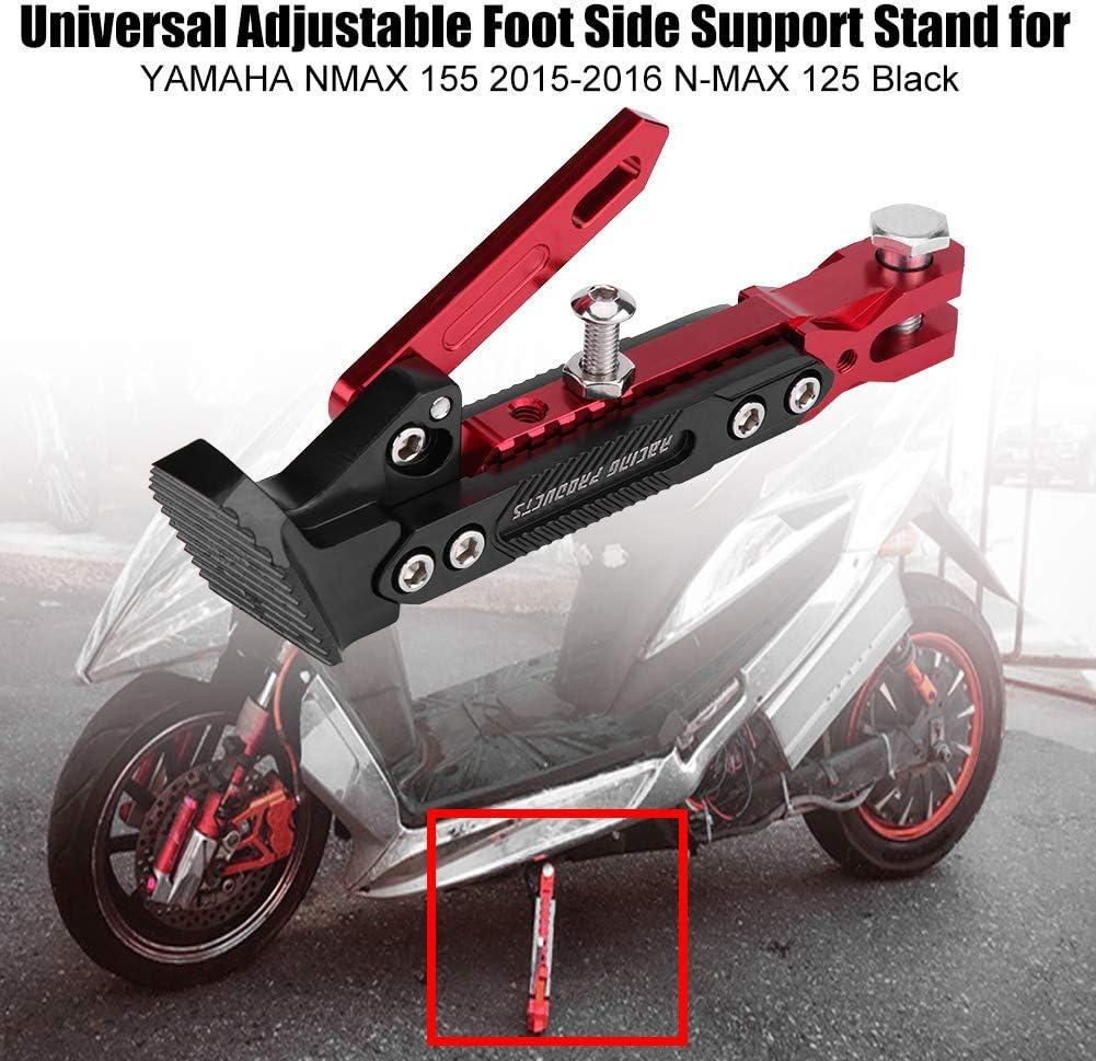Senyar Motorbike Stands,Universal Aluminum Alloy Adjustable Foot Side Support Stand for NMAX 155 2015-2016 N-MAX 125 Black