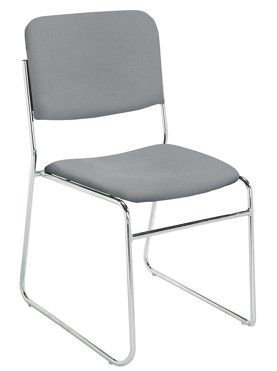 NPS 8652 Fabric-Upholstered Sled Base Signature Stack Chair, 300-Pound Weight Capacity, 19-Inch Length x 21-Inch Width x 33-Inch Height, Grey National Public Seating