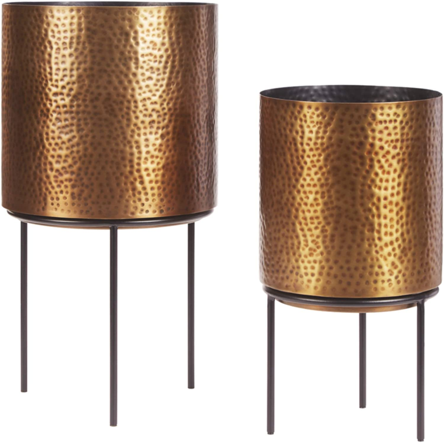 Signature Design by Ashley A2000407 Donisha Planter-Set of 2, Antique Brass Finish