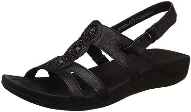 013b74c49b5e8 Clarks Women's Pical Serino Black Leather Fashion Sandals-3.5 UK/India (36  EU