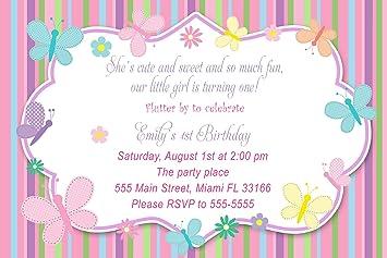 30 invitaciones personalizada mariposas niña fiesta de ...