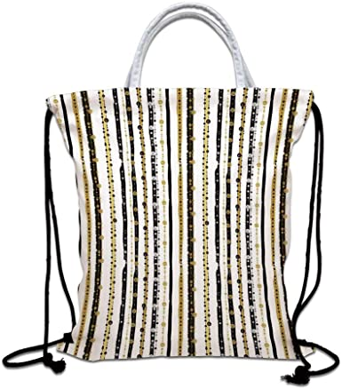 Drawstring Backpack Yellow And Red Vertical Stripes Bags