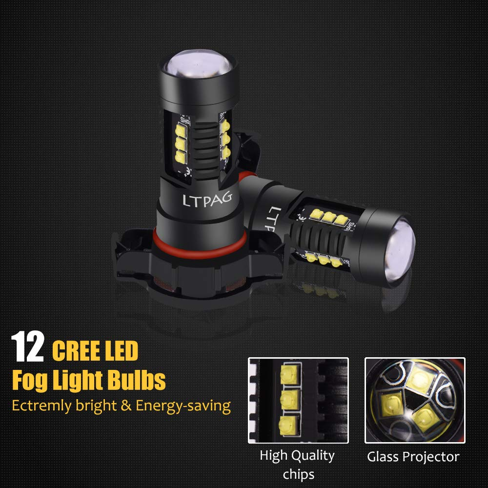 2pcs ACUMSTE 60W 1960Lumens Extremely Bright 9006// HB4 LED Car Fog Lamps Xenon White 6000K Powerful CREE 12SMD LED Bulbs Fog Light Bulbs Replacement IP68 Waterproof 9006// HB4 LED Fog Lights Bulbs