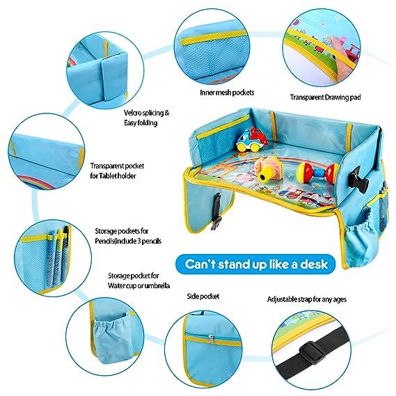 BlueFire Mesa para Niños en la Asiento de Coche, Bandeja Viaje Coche Niños, Tablero Impermeable del Coche,Bandeja para Coche, Cochecito, Avión - Azul