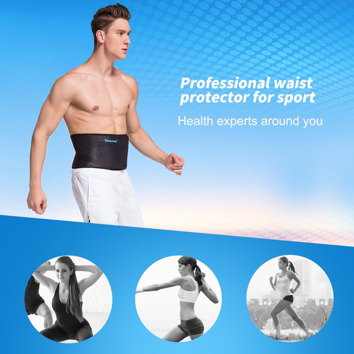 Elastic Waist Trimmer - Lower Back Support - Abdominal Belt - High Quality Neoprene Waist Belt Relieves Strain of Lumbar Muscles for Men & Women by Velpeau (Large Black)