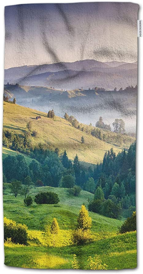 Hgod Designs Bath Towel Landscape Nature Hills Trees With Sunrise In The Fog Bath Towel Throw Blanket Beach Towel 64 Lx32 W Home Kitchen