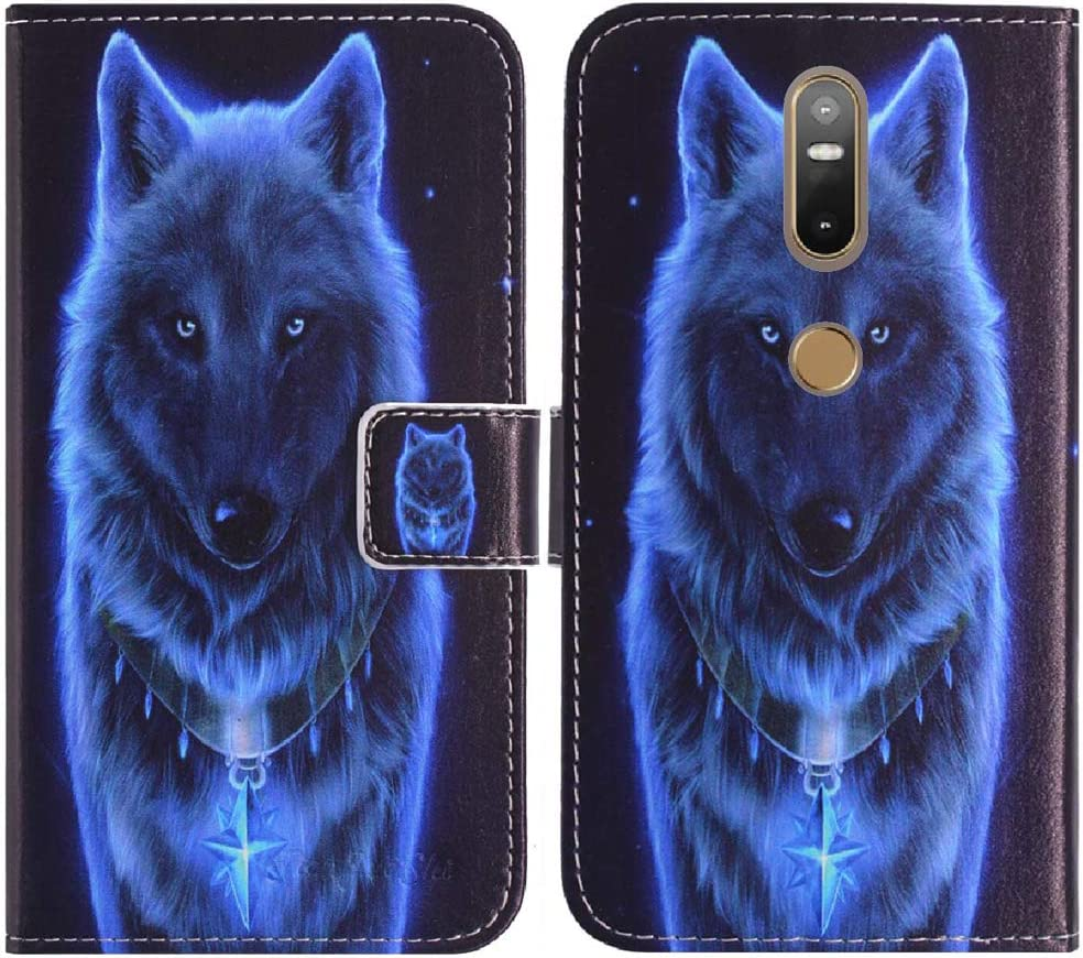 TienJueShi Wolf Book-Style Flip Leather Protector Case Cover TPU Silicone Etui Wallet for Lenovo PHAB 2 Plus 6.44 inch