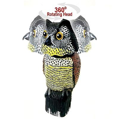 """GiftExpress 15.5"""" Scarecrow Owl Decoy with Rotating Head Statue, Pest Repellent, Bird Control, Bird Deterrent, Garden Protectors, Fake Owls : Garden & Outdoor"""