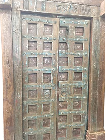 Mogul Antique Doors Floral Patina Vintage Indian Architecture Old Haveli  Door Mediterranean Boho Shabby Chic Interiors - Amazon.com: Mogul Antique Doors Floral Patina Vintage Indian