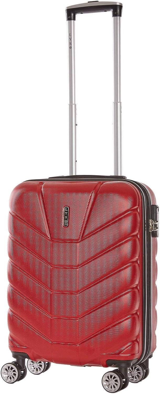 LYS -Maleta de Cabina EXTENDIBLE 55x37x20 cm Plus 7 cm Sufle Ultraligero 4 Ruedas Forradas ABS Equipaje rígido de Mano para Ryanair, Easyjet, Lufthansa (Rojo)