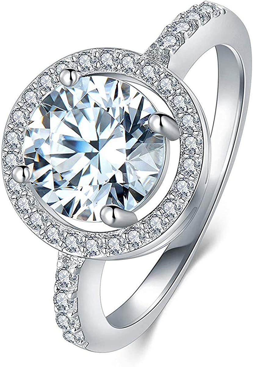 lancy's jewelry Women's White Gold Plated CZ Crystal Engagement Rings Best Promise Rings Anniversary Wedding Bands for Lady Girl