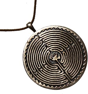 product image for Labyrinth Peace Bronze Pendant Necklace with Peace Dove on Adjustable Natural Fiber Cord